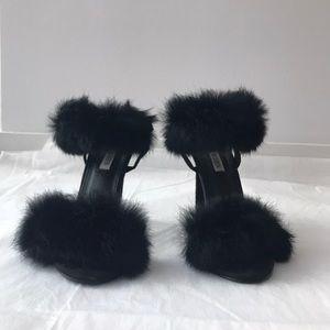 Cape Robbin Black Faux Fur Strappy Heel